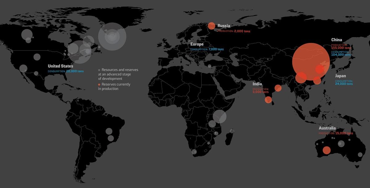 Tierras raras: los países con mayores reservas